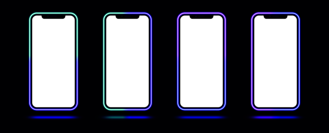 Phone mockup with gradient neon border. Modern set of phone templates with creative duotone neon ベクター