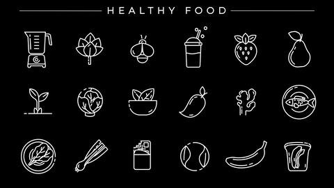 Healthy Food concept line style icons set Animation