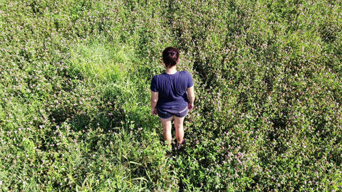 woman standing alone in a green field ライブ動画