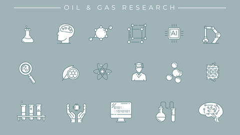 Collection of oil and gas research line icons on the alpha channel Animation