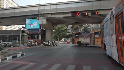 Bangkok Thailand - April 06, 2020: Empty street under highway with not many cars ライブ動画