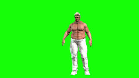 849 4k WEIGHT HEALTH 3D Avatar fat man looking on himself and reducing weight fisting victory Animation