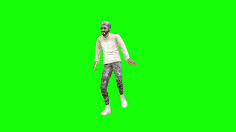 846 4K CONCEPTUAL IDEA 3D Avatar posh fashion man dances and after talks by mibile TWO footages Animation