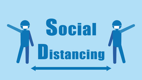 Social Distancing animation Text color blue CG動画