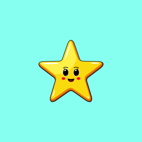 Cartoon Kawaii Golden Star with Cheerful Face. Cute Star with 5 Rays, Childish Character Vector