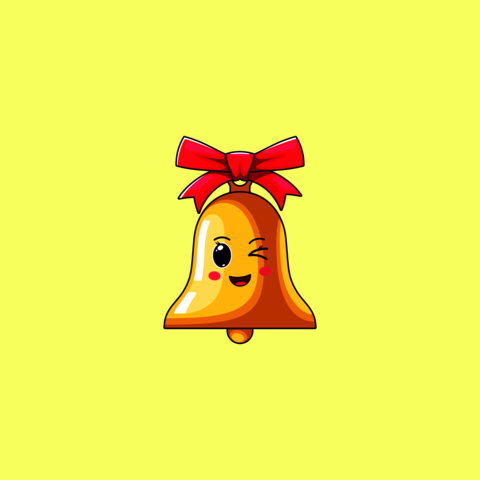 Cartoon Kawaii Golden Bell with Winking Face. Cute Bell with red Bowknot Vector