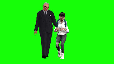 854 4K SCHOOL CHILDREN FAMILY 3D computer generated granddad and boy walking to school Animation