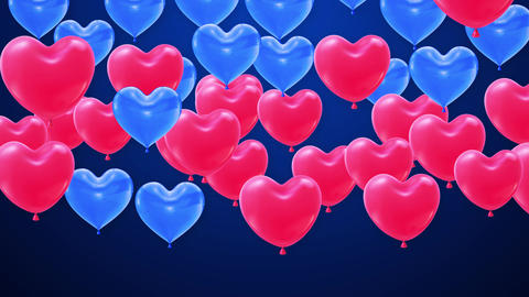 Red and blue Balloons heart shape Flying bunch 4K Live Action