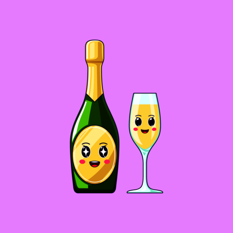 Cartoon kawaii Champagne with Admiring face. Cute Champagne bottle with Wineglass Vector