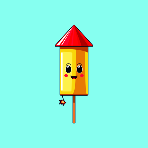 Cartoon kawaii Firework with Cheerful face. Cute Firework rocket with Burning fuse Vector