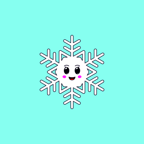Cartoon Kawaii Snowflake with Cheerful Face. Cute white Snowflake for Frosty winter season Vector
