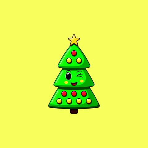 Cartoon kawaii Christmas tree with Winking face. Cute green Christmas tree with decorations Vector