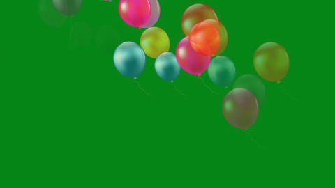 Flying balloons motion graphics with green screen background Videos animados