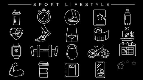 Sport Lifestyle concept line style icons set Animation