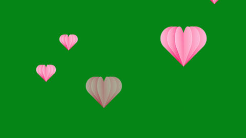 Pink hearts motion graphics with green screen background Videos animados