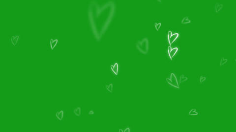 White hearts motion graphics with green screen background Videos animados