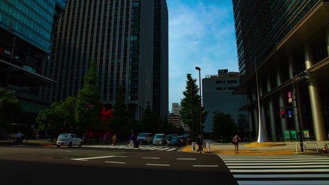 A timelapse of traffic jam at the business town in Tokyo wide shot ライブ動画