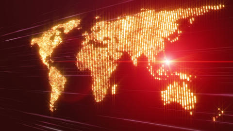 Futuristic animation with moving world map and lights, loop HD Videos animados