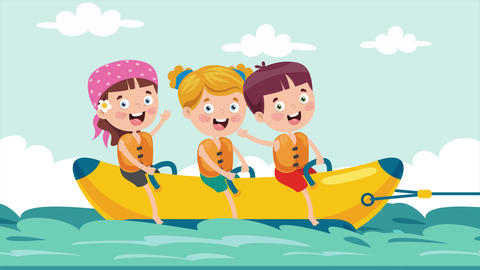 Children Having Fun On Banana Boat Videos animados