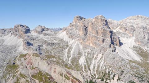 Mountain peaks around the mountain Tofana di Rozes. Mountain of the Dolomites near Cortina Live Action