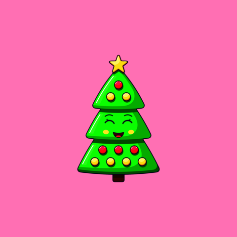 Cartoon kawaii Christmas tree with Smile and Smiling eyes. Cute green Christmas tree with Vector