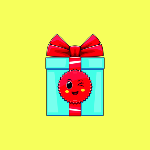 Cartoon kawaii Gift Box with Winking face. Cute blue Gift with red Bowknot Vector