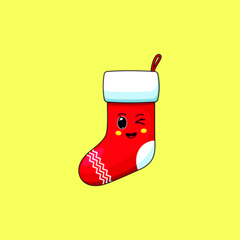 Cartoon kawaii Santa Sock with Winking face. Cute Santa Claus Sock for Christmas celebration Vector