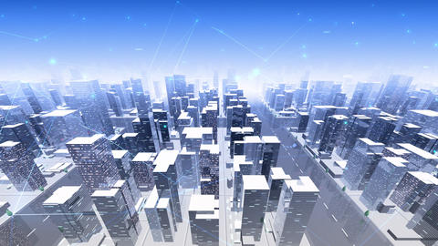 Digital City Network Building Technology Communication Data Business Background Sky Da0 Animation