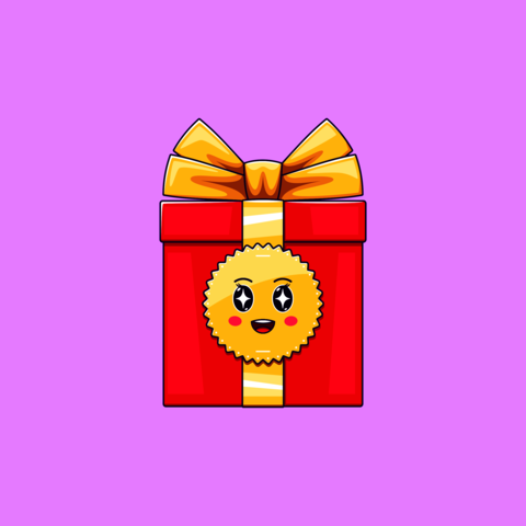 Cartoon kawaii Gift Box with Admiring face. Cute red Gift with golden Bowknot Vector