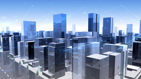 Digital City Network Building Technology Communication Data Business Background Sky Gc0 Animation