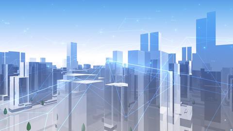 Digital City Network Building Technology Communication Data Business Background Sky HaC0 Animation