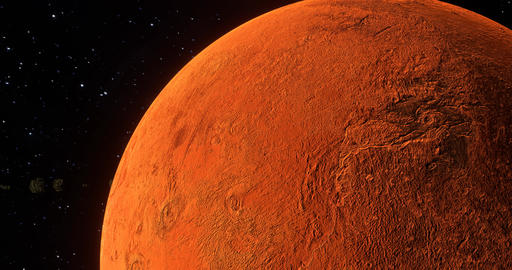 Asteroids orbiting red Mars in outer space closeup as sun reveals from behind planet Animation
