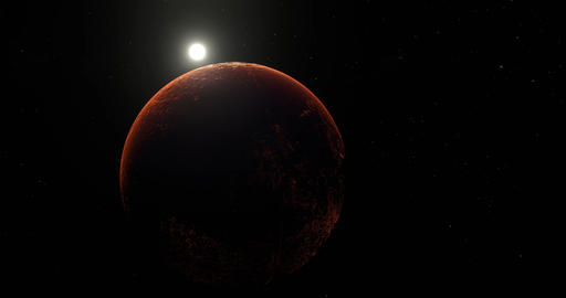 Sun orbit from behind futuristic red Mars barren textured planet in outer space Animation