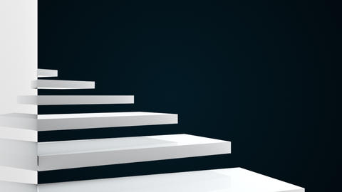 Climb up the spiral staircase near the glossy wall, 3d rendering. Computer Animation