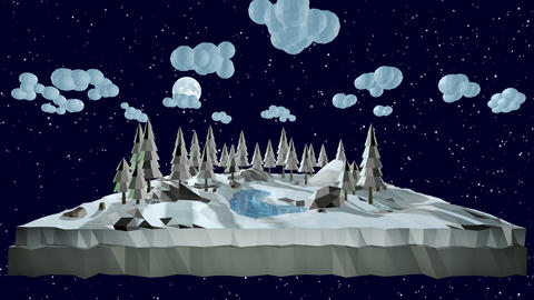 Mary Christmas and new year background animation. Landscape with Christmas trees in the snow 3d Animation