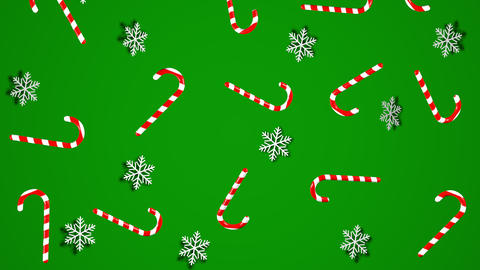 Mary Christmas and new year background animation. Sweet Christmas candy 3d illustration Animation