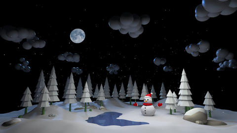 Mary Christmas and new year background animation. Snowman and New Year's weather in the forest 3d GIF