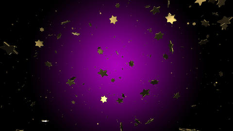 3d render christmas snowfall of golden stars on a lilac background. Mary Christmas and happy new Animation