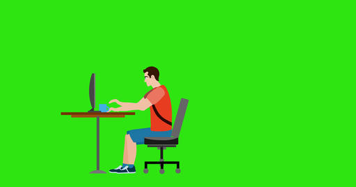 Programmer working at the table on comp Animation