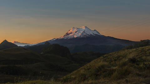 Panoramic view of the Antisana volcano at sunrise from the Papal Photo