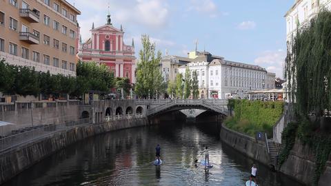 Board paddling in Ljubljanica river in Ljubljana Acción en vivo