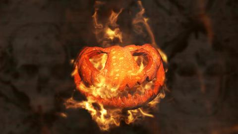 Halloween Pumpkin Jack O' Lantern Burning in Flames. Happy Halloween animation Animation
