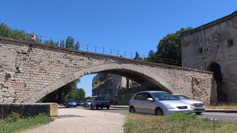 Bridge over traffic road in Avignon-time lapse Live Action