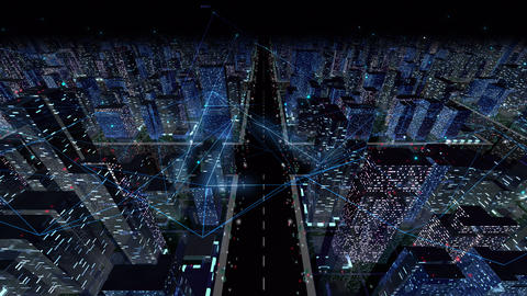 Digital City Network Building Technology Communication Data Business Background Night Ba0 Animation