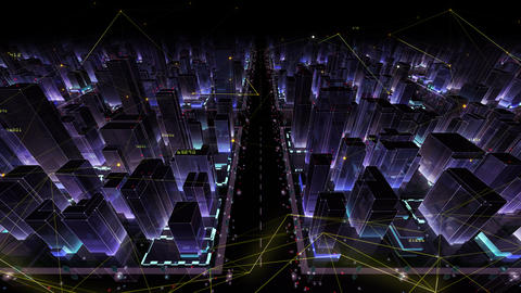 Digital City Network Building Technology Communication Data Business Background Night Bc0 Color Animation