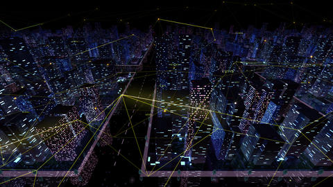 Digital City Network Building Technology Communication Data Business Background Night Da0 Color Animation