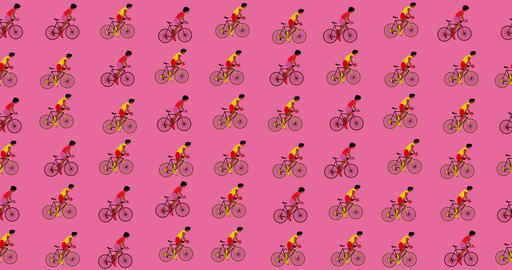 African American cyclists are riding bicycles on the pink background.Cartoon Acción en vivo