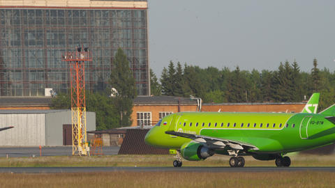 S7 Airlines Embraer 170 accelerate before departure GIF