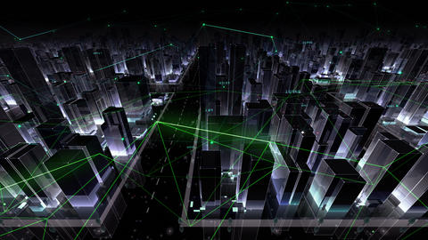 Digital City Network Building Technology Communication Data Business Background Night Dc0 Color Animation
