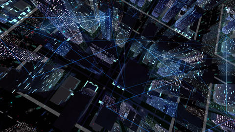 Digital City Network Building Technology Communication Data Business Background Night Ea0 Animation